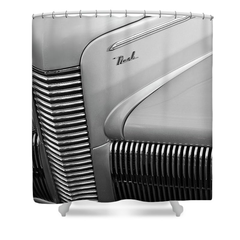 1940 Chevrolet Nash Shower Curtain featuring the photograph 1940 Nash Grille by Jill Reger