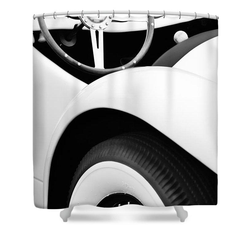 1950 Eddie Rochester Anderson Emil Diedt Roadster Steering Wheel Shower Curtain featuring the photograph 1950 Eddie Rochester Anderson Emil Diedt Roadster Steering Wheel by Jill Reger
