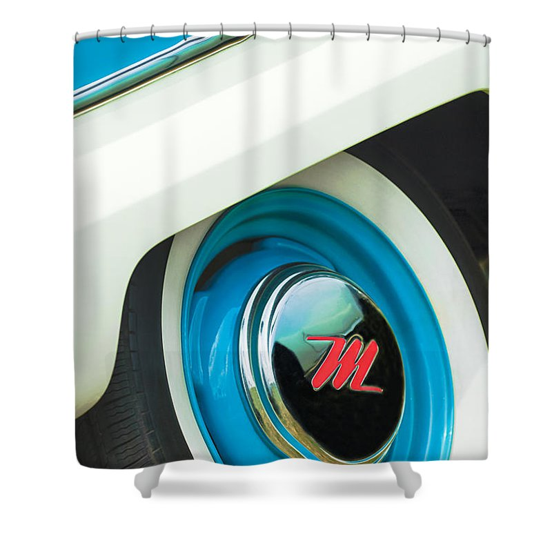 1959 Nash Metropolitan Wheel Emblem Shower Curtain featuring the photograph 1959 Nash Metropolitan Wheel Emblem by Jill Reger