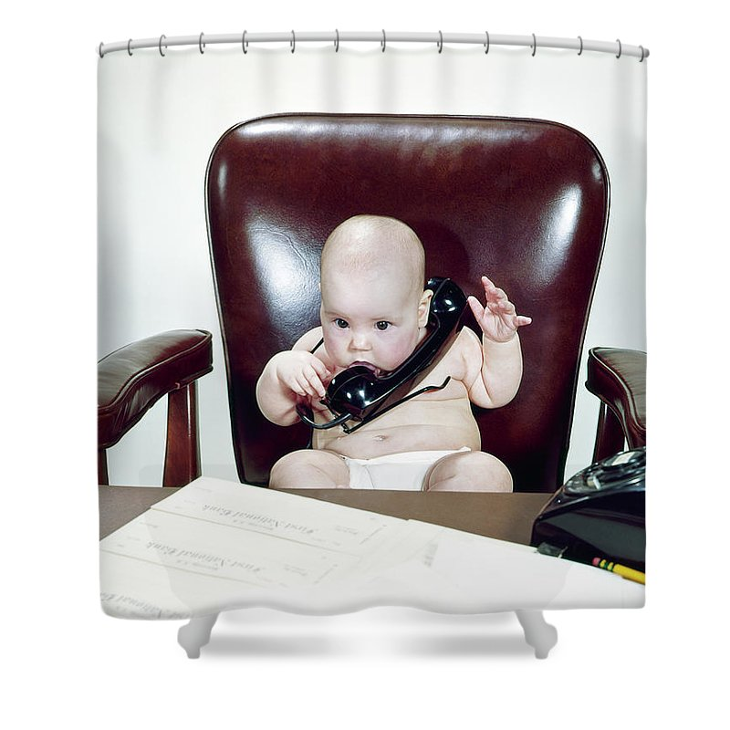 Photography Shower Curtain Featuring The Photograph 1960s Chubby Baby Sitting In Leather By Vintage Images