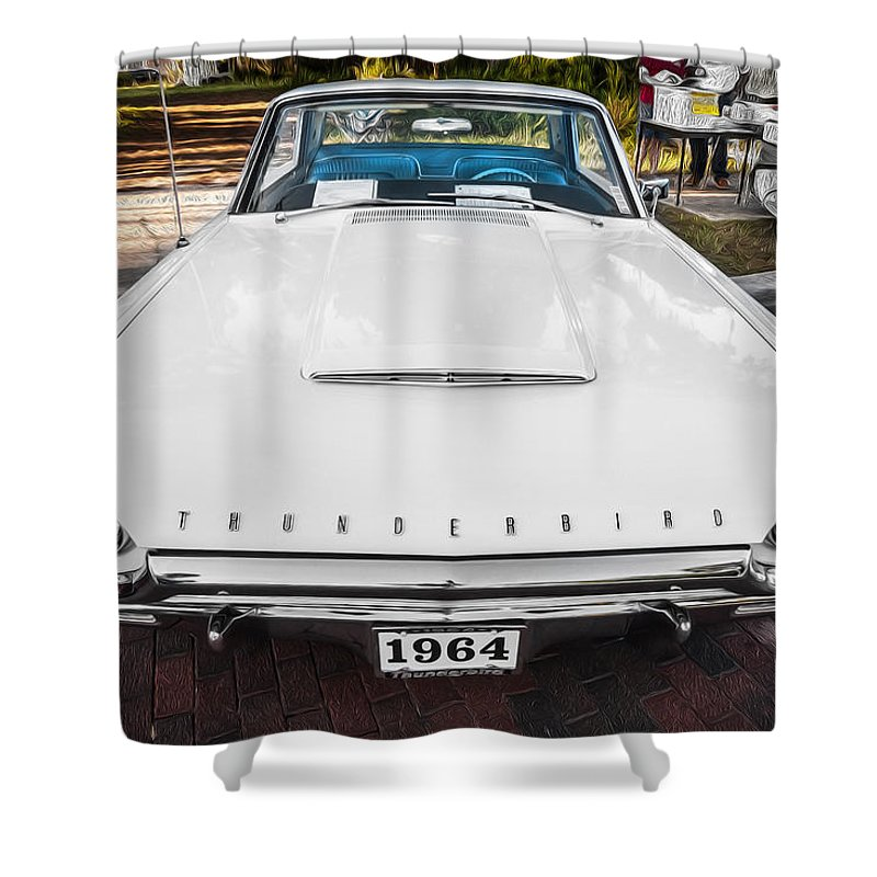 1964 Ford Thunderbird Shower Curtain featuring the photograph 1964 Ford Thunderbird Painted by Rich Franco