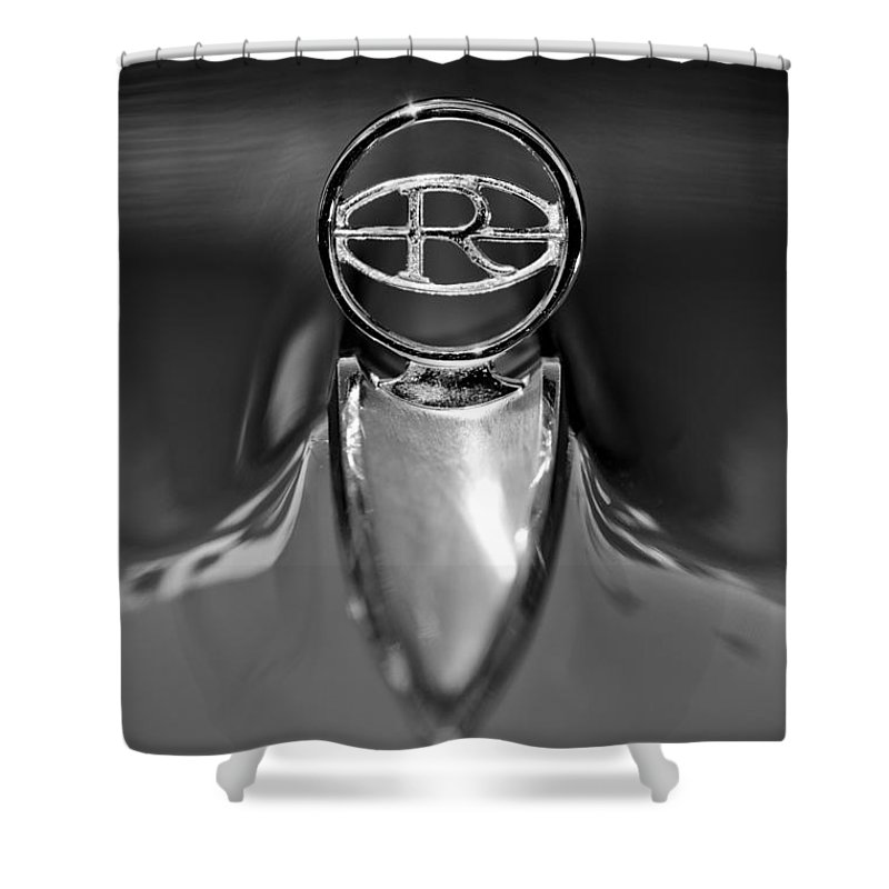 1965 Buick Riviera Hood Ornament Shower Curtain featuring the photograph 1965 Buick Riviera Hood Ornament by Jill Reger