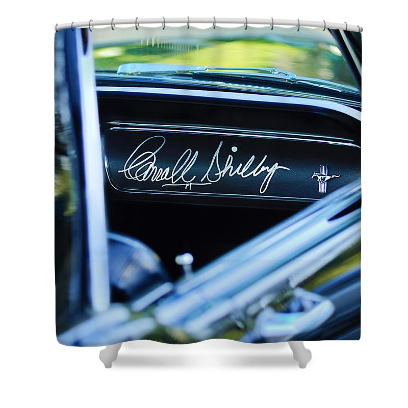 1965 Shelby Prototype Ford Mustang Shower Curtain featuring the photograph 1965 Shelby Prototype Ford Mustang Carroll Shelby Signature by Jill Reger