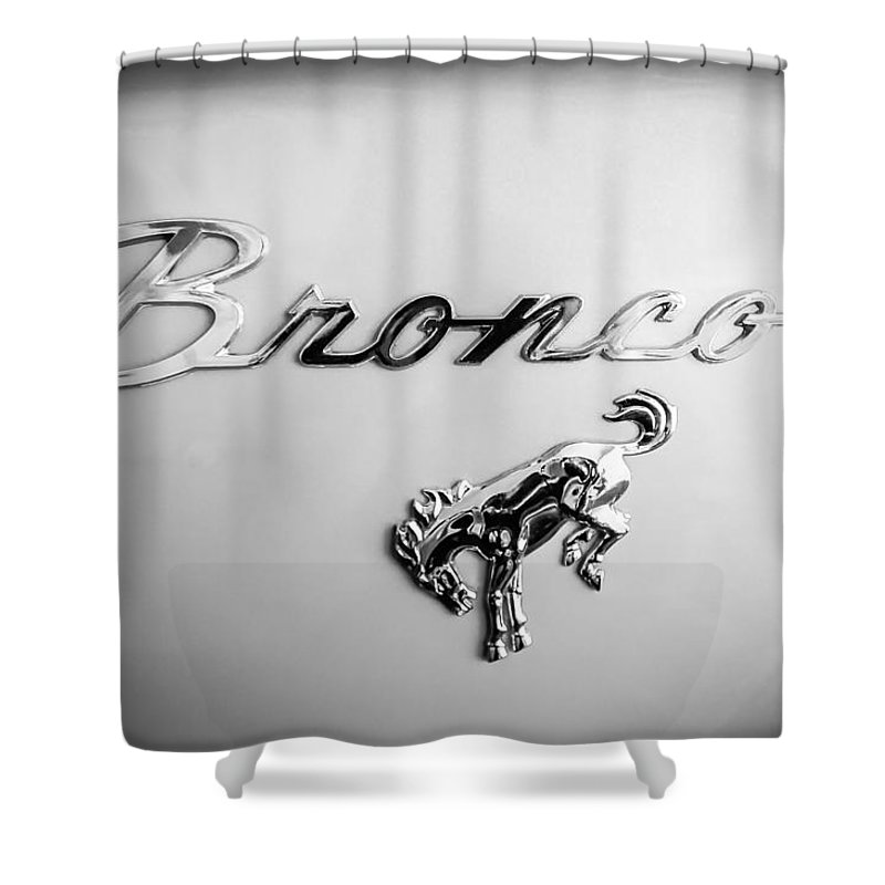 1973 Ford Bronco Ranger Emblem Shower Curtain Featuring The Photograph By