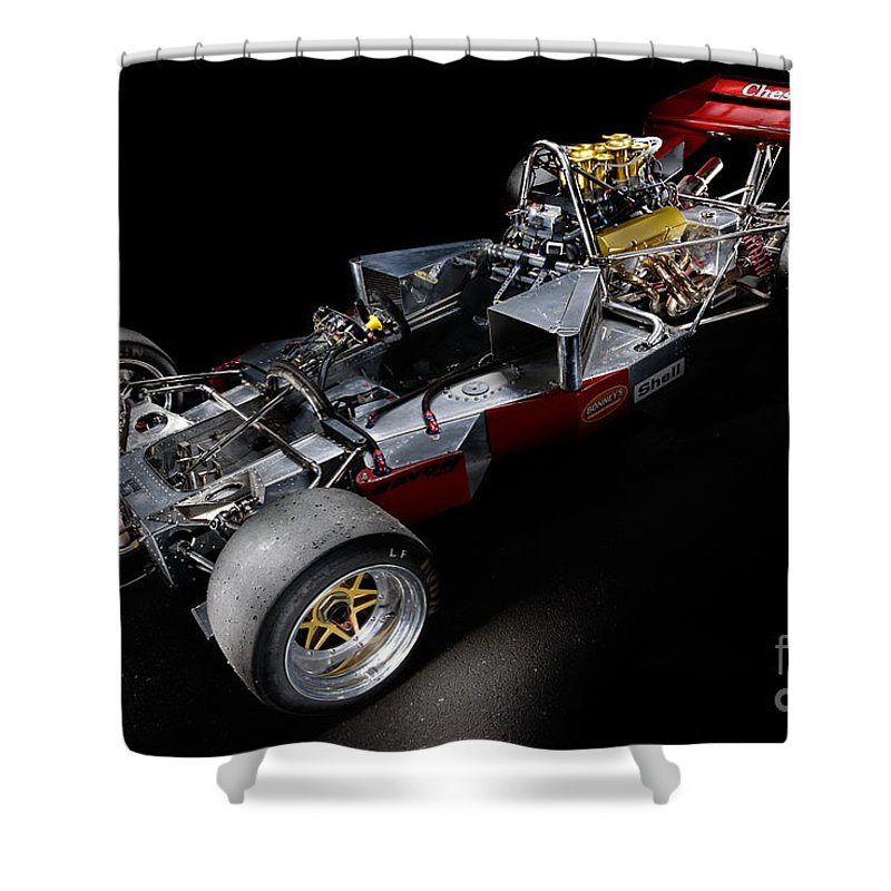 1974 Shower Curtain featuring the photograph 1974 Lola T332 F5000 Race Car V8 5 Litre Chassis by Frank Kletschkus