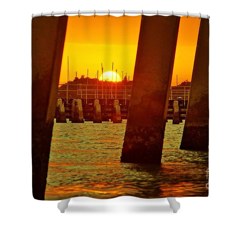 Sunset Shower Curtain featuring the photograph 2013 First Sunset Under North Bridge 3 by Lynda Dawson-Youngclaus