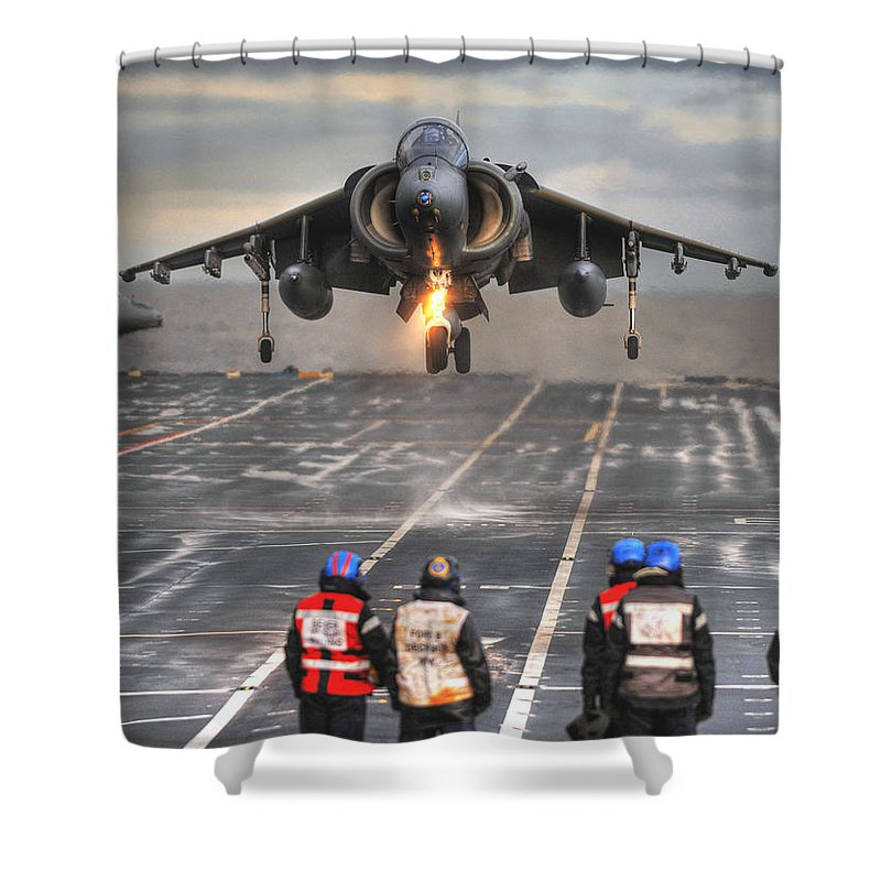 Naval Strike Wing Shower Curtain featuring the photograph A Gr9 Harrier by Paul Fearn