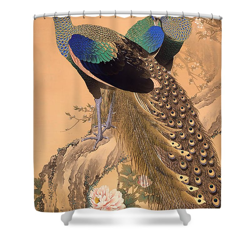 Painting Shower Curtain featuring the painting A Pair Of Peacocks In Spring by Mountain Dreams