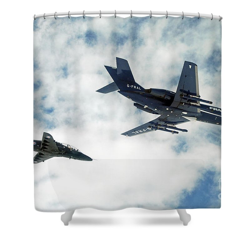 Jet Shower Curtain featuring the photograph A Royal Air Force Hawk by Paul Fearn