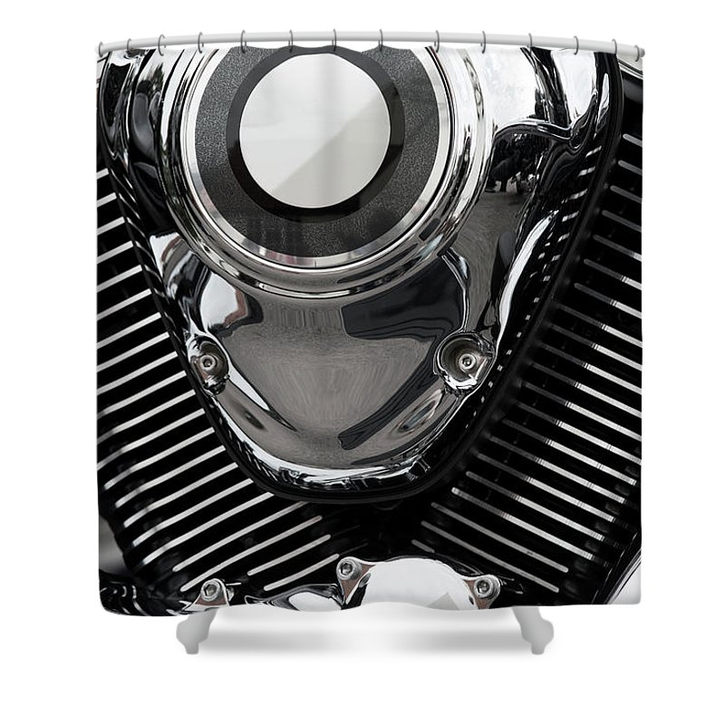 Vehicle Part Shower Curtain featuring the photograph Abstract Motorcycle Engine by Andrew Dernie