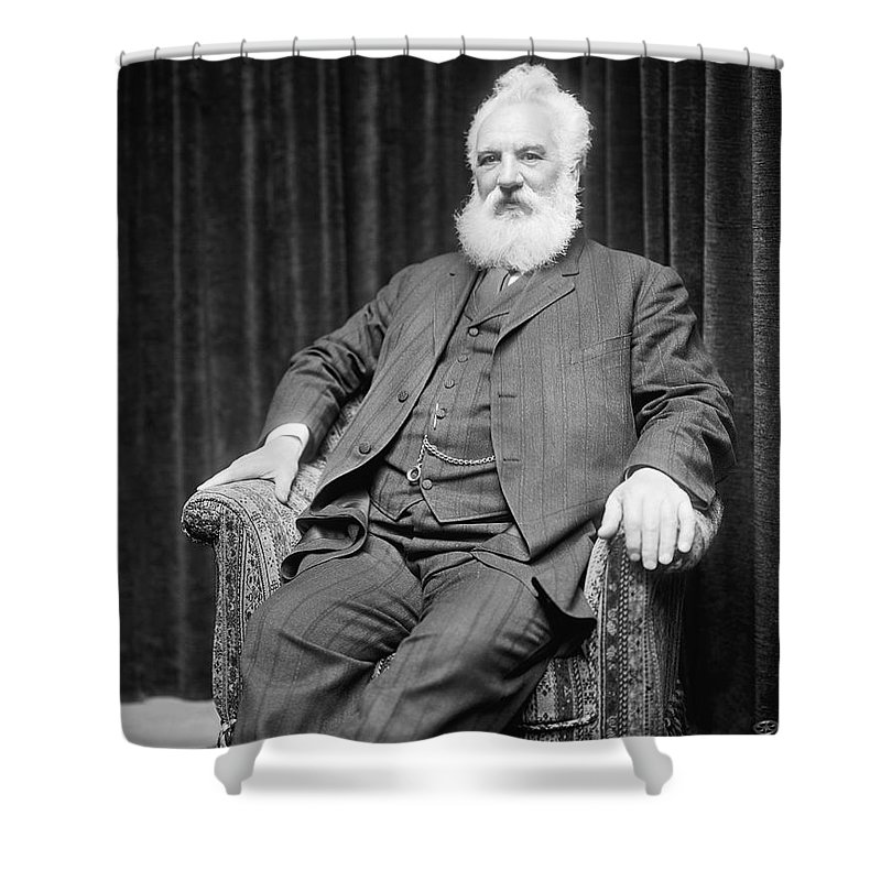 1 Person Shower Curtain featuring the photograph Alexander Graham Bell by Underwood