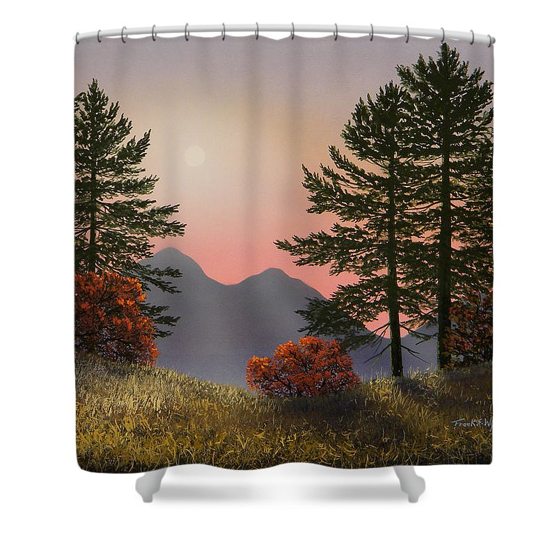 Mountains Shower Curtain featuring the painting Alpine View by Frank Wilson