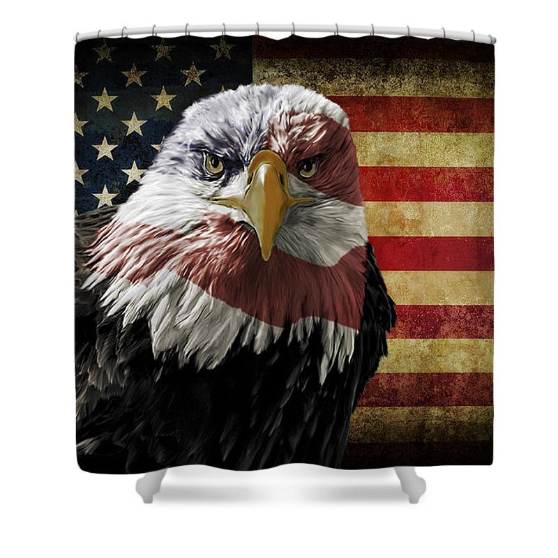 Eagle Shower Curtain featuring the photograph American Bald Eagle On Grunge Flag by Michael Shake