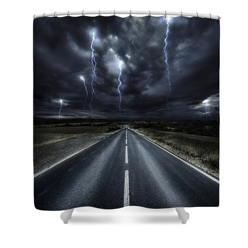 Vertical Shower Curtain featuring the photograph An Asphalt Road With Stormy Sky Above by Evgeny Kuklev