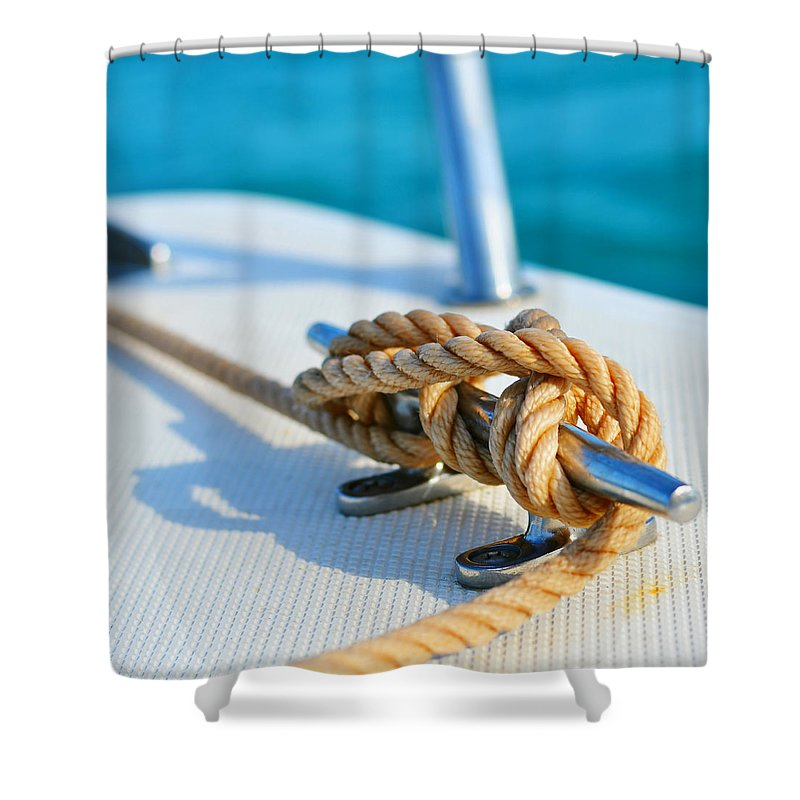 Laura Fasulo Shower Curtain featuring the photograph Anchor Line by Laura Fasulo