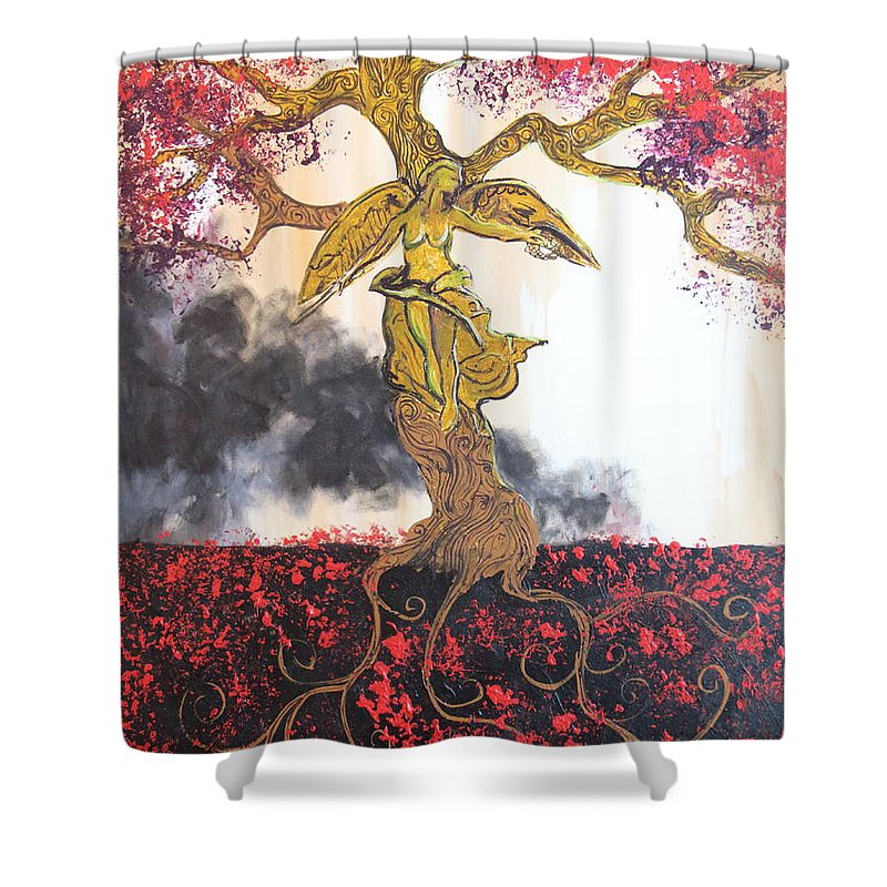 Impressionism Shower Curtain featuring the painting Angel Oak by Stefan Duncan