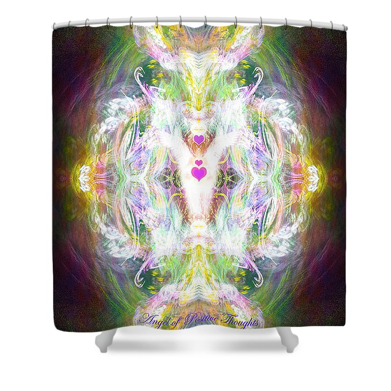 Angel Shower Curtain featuring the digital art Angel Of Positive Thoughts by Diana Haronis