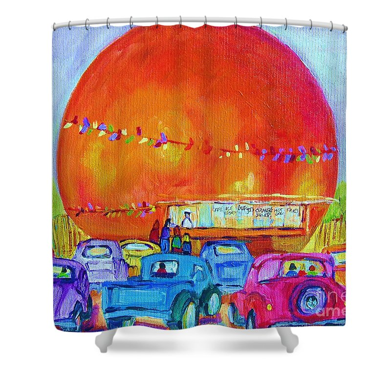 Cars Shower Curtain featuring the painting Antique Cars At The Julep by Carole Spandau