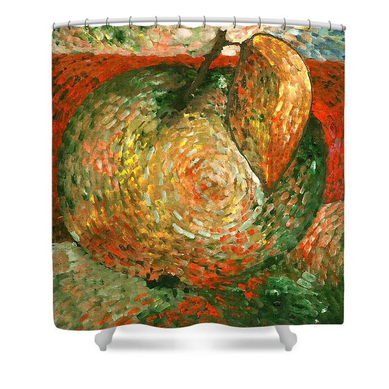 Colour Shower Curtain featuring the painting Apple by Wojtek Kowalski