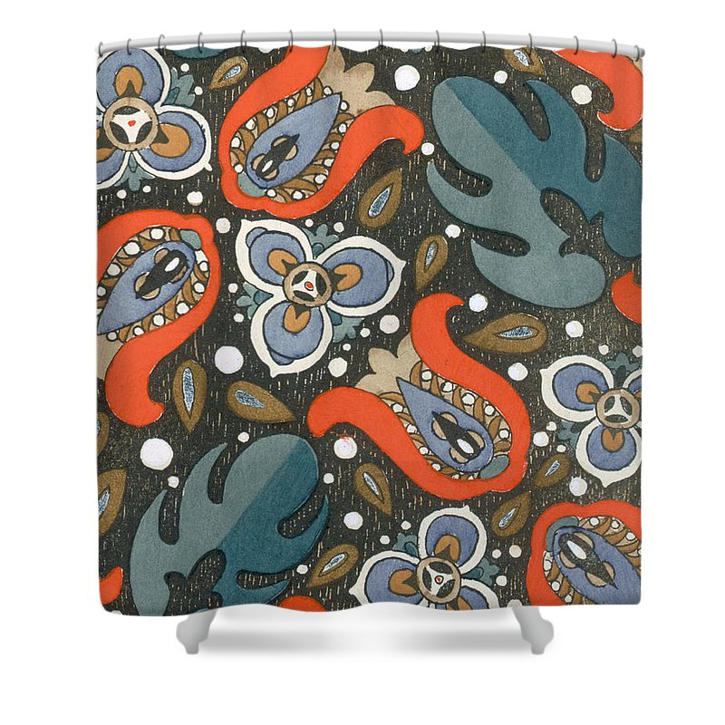 Textile Shower Curtain featuring the painting Art Deco Phone Case by French School