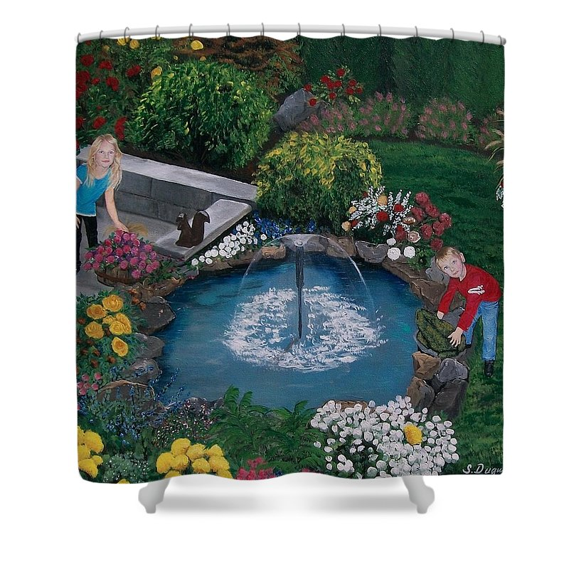 Backyard Shower Curtain featuring the painting At The Pond by Sharon Duguay