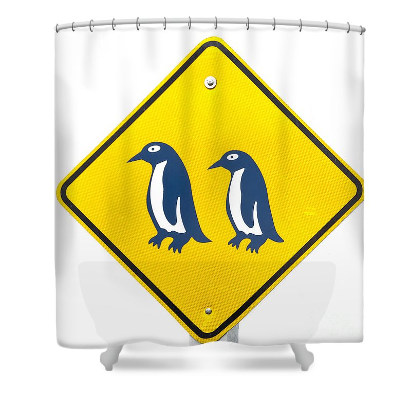 Animal Shower Curtain featuring the photograph Attention Blue Penguin Crossing Road Sign by Stephan Pietzko