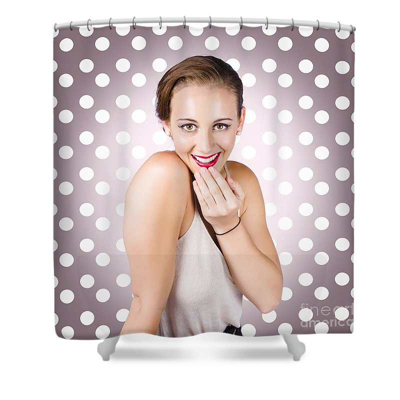 Surprised Shower Curtain featuring the photograph Attractive Young Retro Girl With Look Of Surprise by Jorgo Photography - Wall Art Gallery