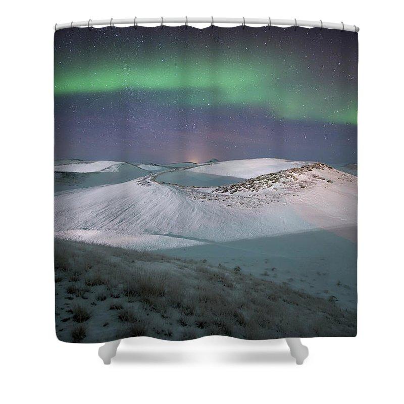 Scenics Shower Curtain featuring the photograph Aurora, Myvatn, Iceland by David Clapp