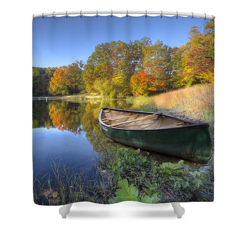 Appalachia Shower Curtain featuring the photograph Autumn Lake by Debra and Dave Vanderlaan