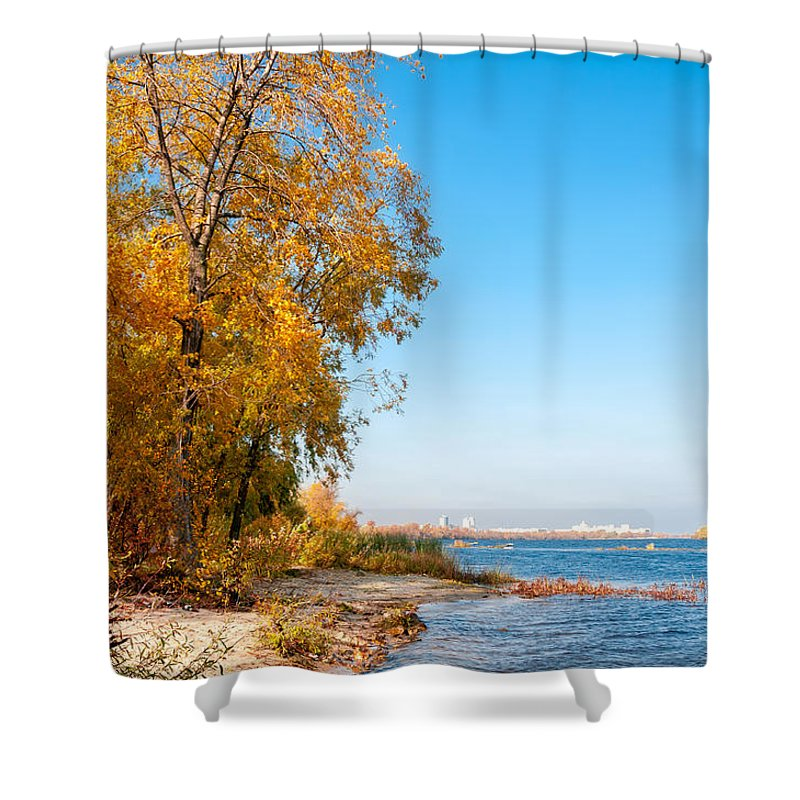 Dnipro Dnieper Shower Curtain featuring the photograph Autumn On The Dnieper River by Alain De Maximy