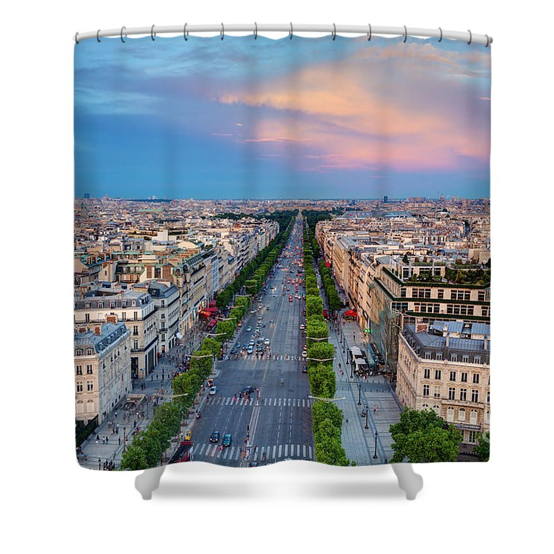 Elysees Shower Curtain featuring the photograph Avenue Des Champs Elysees  In Paris France by Michal Bednarek d31cec8f05558