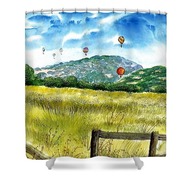 Landscape Shower Curtain featuring the painting Balloon Race by Steven Schultz