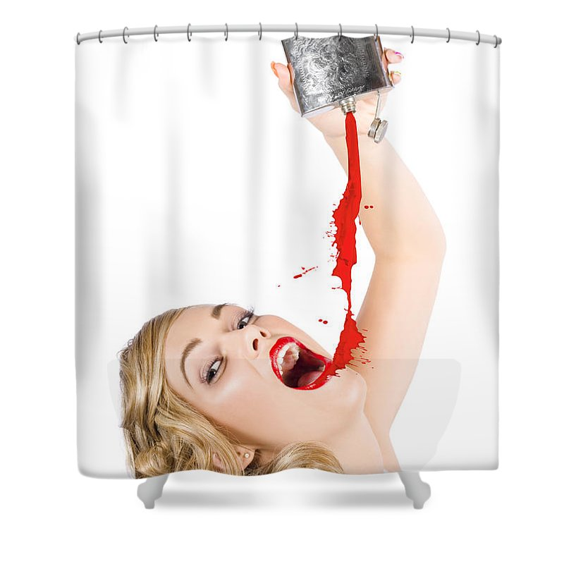Artist Shower Curtain Featuring The Photograph Beautiful Blonde Make Up Woman Pouring Liquid Lipstick