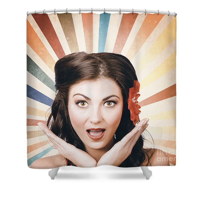 Vintage Shower Curtain featuring the photograph Beautiful Retro Brunette  Girl With Surprised Look by Jorgo Photography b4dc1a3b93d4