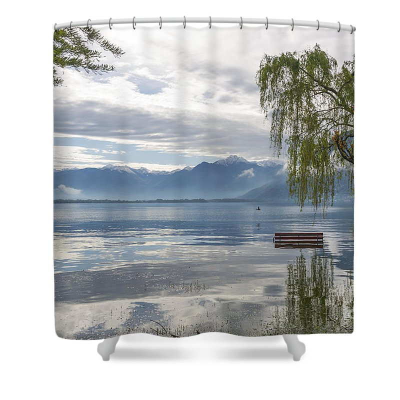 Bench Shower Curtain featuring the photograph Bench With Trees On A Flooding Alpine Lake by Mats Silvan