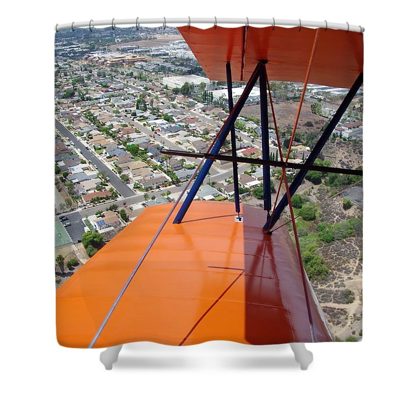 Biplane Shower Curtain featuring the photograph Biplane Over San Diego by Phyllis Spoor