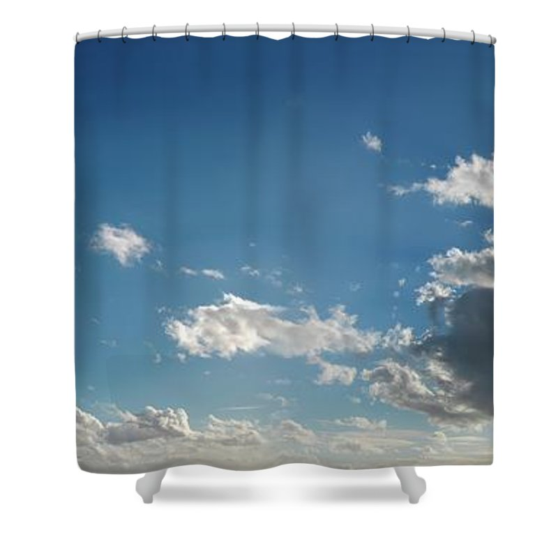 Panoramic Shower Curtain featuring the digital art Blue Sky With Cumulus Clouds, Artwork by Leonello Calvetti
