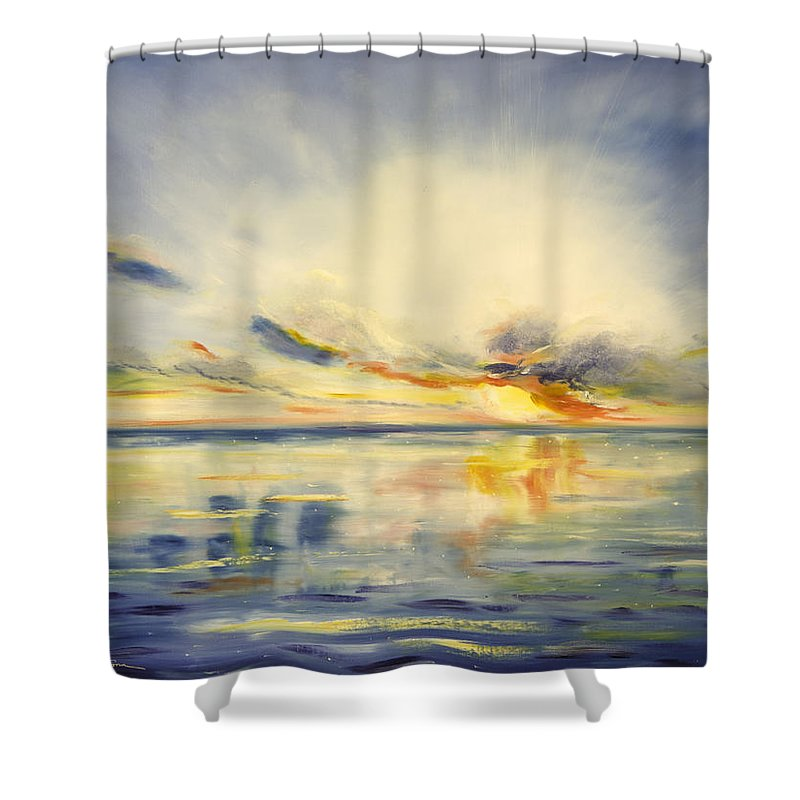 Blue Shower Curtain featuring the painting Blue Sunset by Gina De Gorna