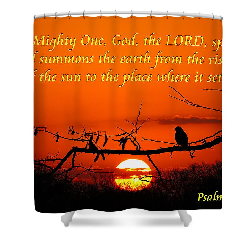Inspirational Shower Curtain featuring the photograph Bluebird Dawn by Bill Pevlor