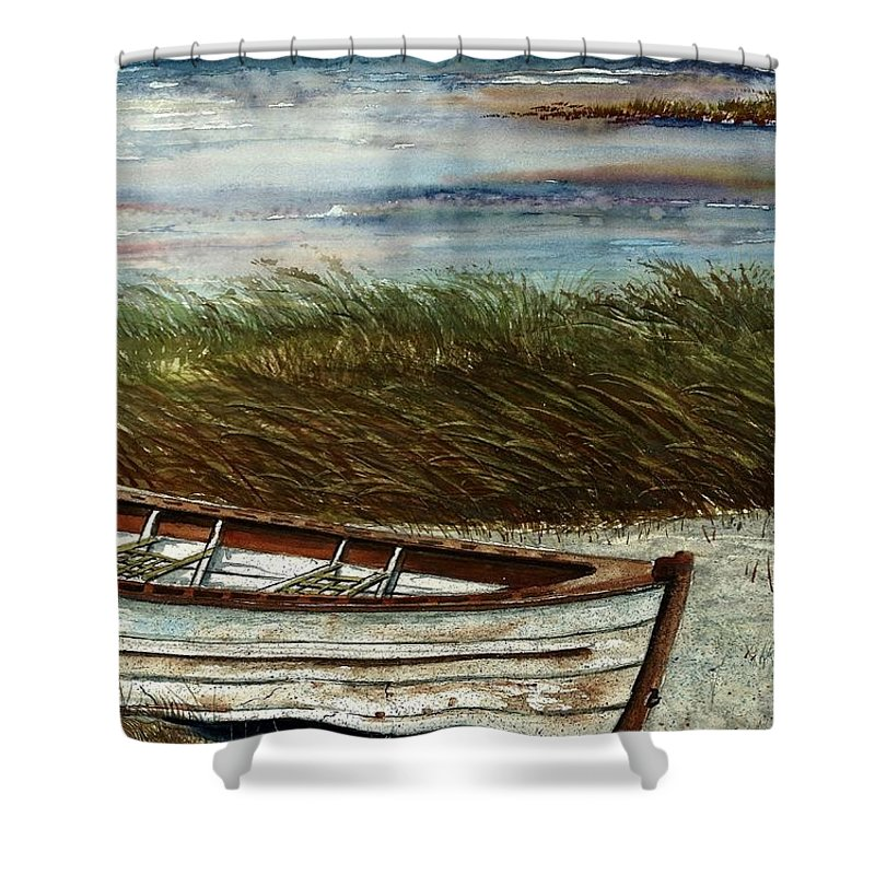 Boat Shower Curtain featuring the painting Boat On Shore by Steven Schultz
