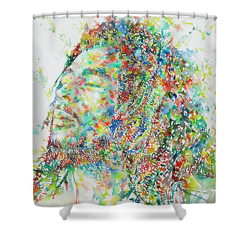 Bob Shower Curtain Featuring The Painting Bob Marley By Fabrizio Cassetta
