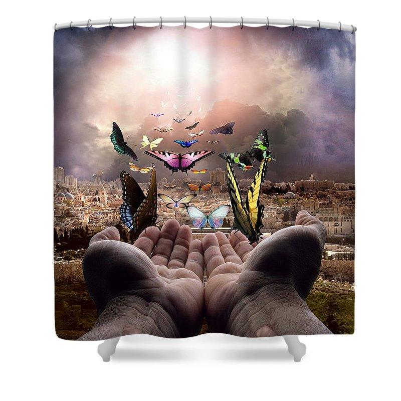 Israel Shower Curtain featuring the digital art Born Again Israel by Bill Stephens