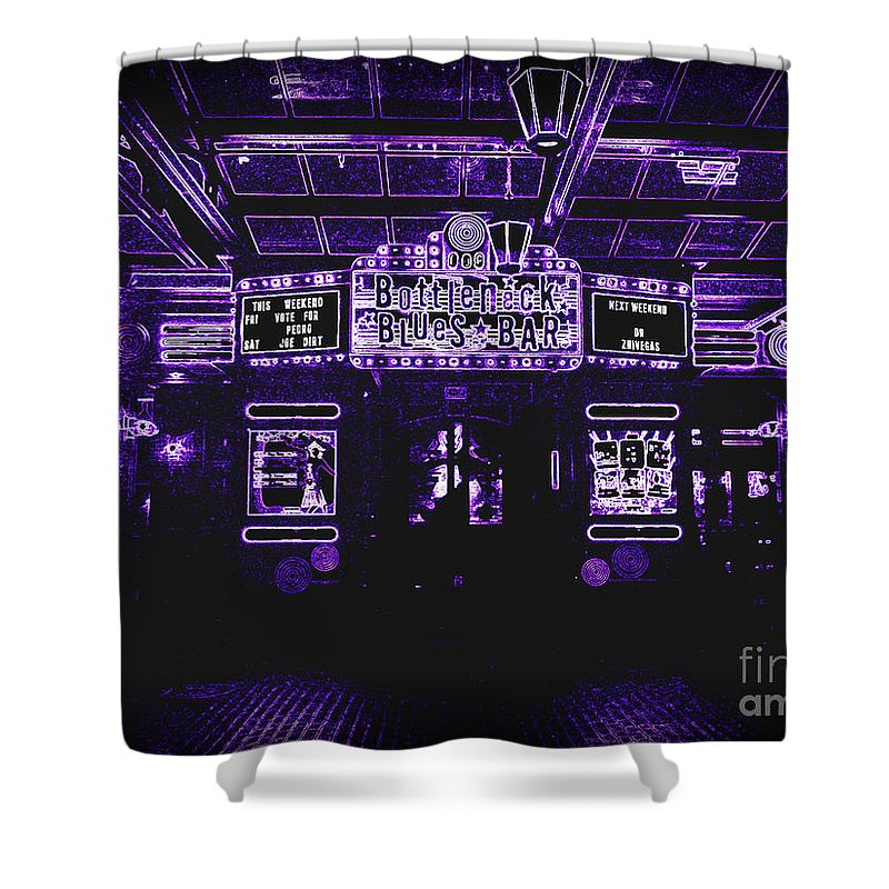 Shower Curtain featuring the photograph Bottleneck Blues Bar by Kelly Awad