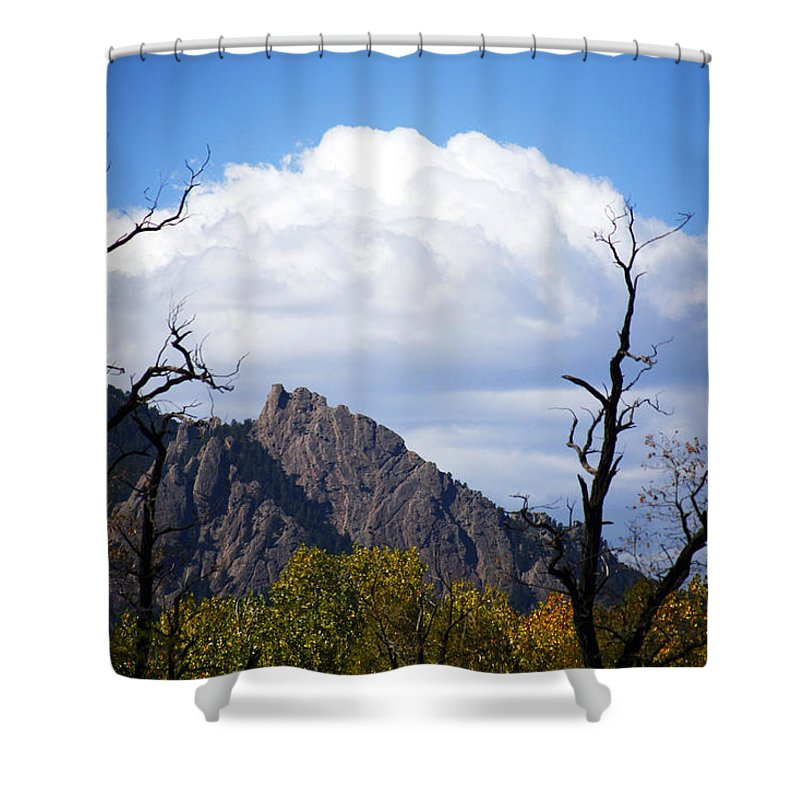 Boulder Shower Curtain featuring the photograph Boulder Flatirons 1 by Marilyn Hunt
