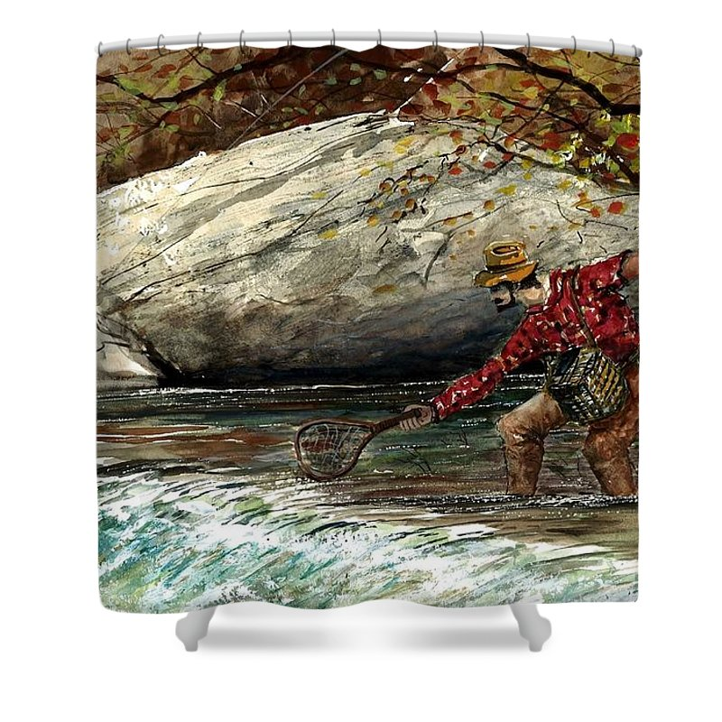Water Rapids Shower Curtain featuring the painting Boy And His Catch by Steven Schultz