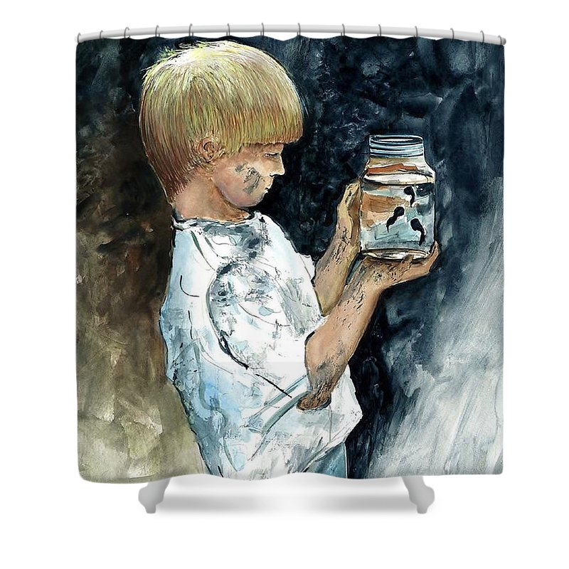 Boy Shower Curtain featuring the painting Boy Plays by Steven Schultz