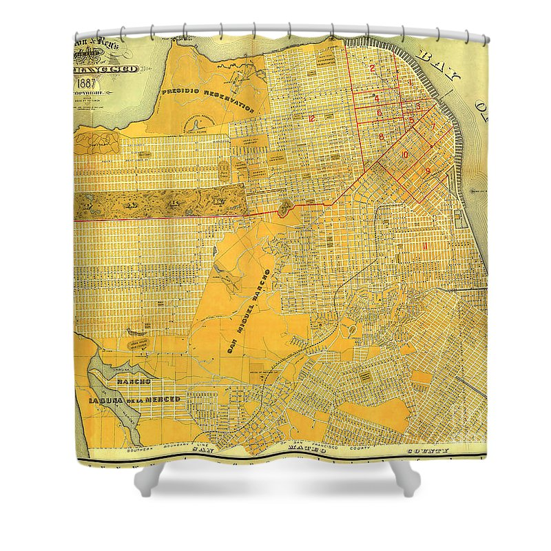 Britton And Reys Shower Curtain featuring the photograph Britton And Reys Guide Map Of The City Of San Francisco. 1887. by California Views Archives Mr Pat Hathaway Archives