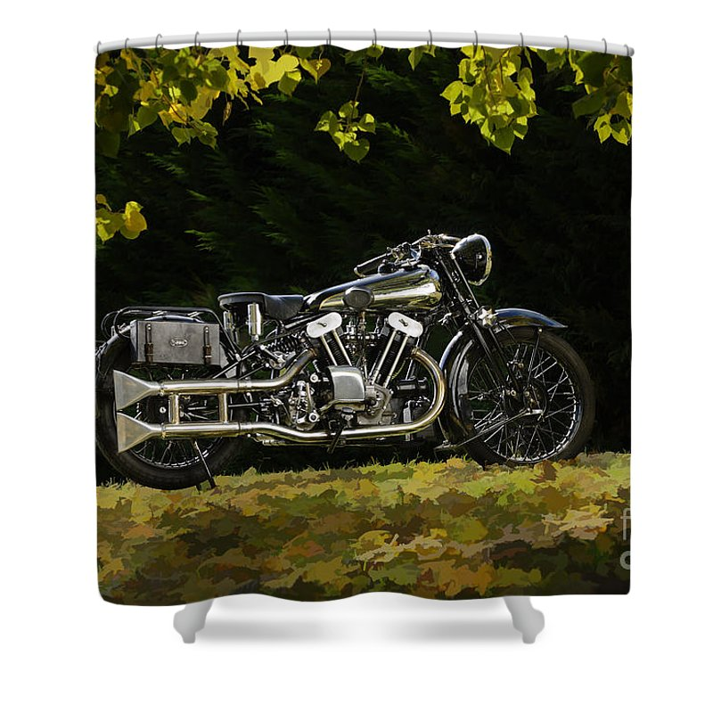 Bike Shower Curtain featuring the photograph Brough Superior Ss 100 by Frank Kletschkus