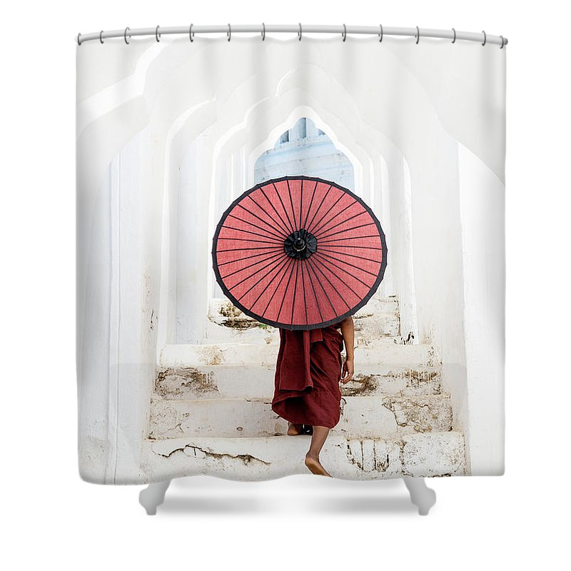 Steps Shower Curtain featuring the photograph Buddhist Monk Walking Along Temple by Martin Puddy