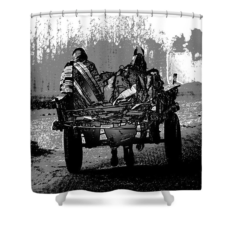Canon 650d Shower Curtain featuring the digital art Bundled Up For The Cold In A Foggy Day In Rural India by Ashish Agarwal
